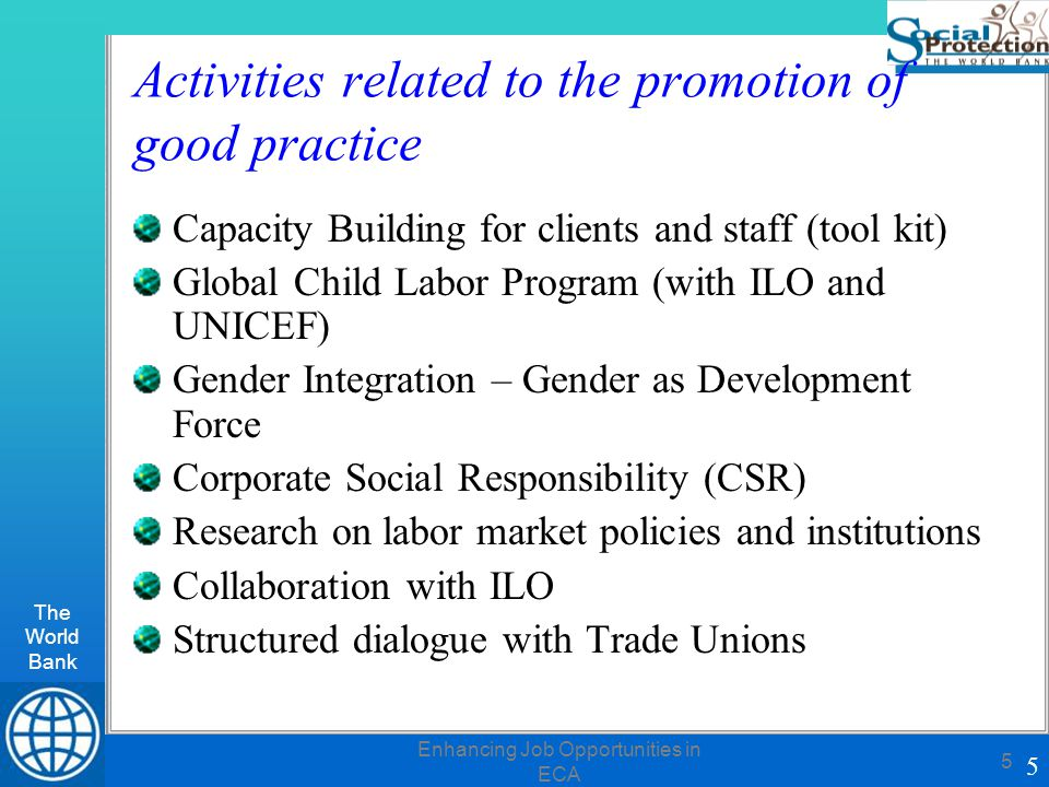 The World Bank 5 Enhancing Job Opportunities in ECA 5 Activities related to the promotion of good practice Capacity Building for clients and staff (tool kit) Global Child Labor Program (with ILO and UNICEF) Gender Integration – Gender as Development Force Corporate Social Responsibility (CSR) Research on labor market policies and institutions Collaboration with ILO Structured dialogue with Trade Unions