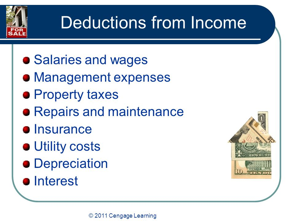 © 2011 Cengage Learning Deductions from Income Salaries and wages Management expenses Property taxes Repairs and maintenance Insurance Utility costs Depreciation Interest