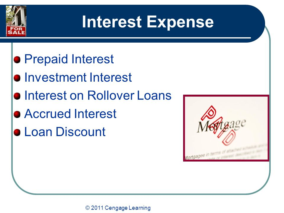 © 2011 Cengage Learning Interest Expense Prepaid Interest Investment Interest Interest on Rollover Loans Accrued Interest Loan Discount
