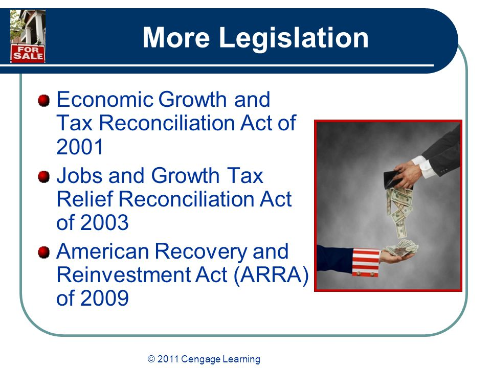© 2011 Cengage Learning More Legislation Economic Growth and Tax Reconciliation Act of 2001 Jobs and Growth Tax Relief Reconciliation Act of 2003 American Recovery and Reinvestment Act (ARRA) of 2009