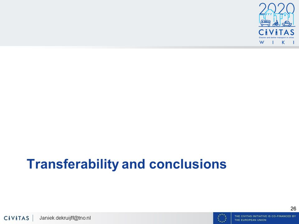 26 Transferability and conclusions