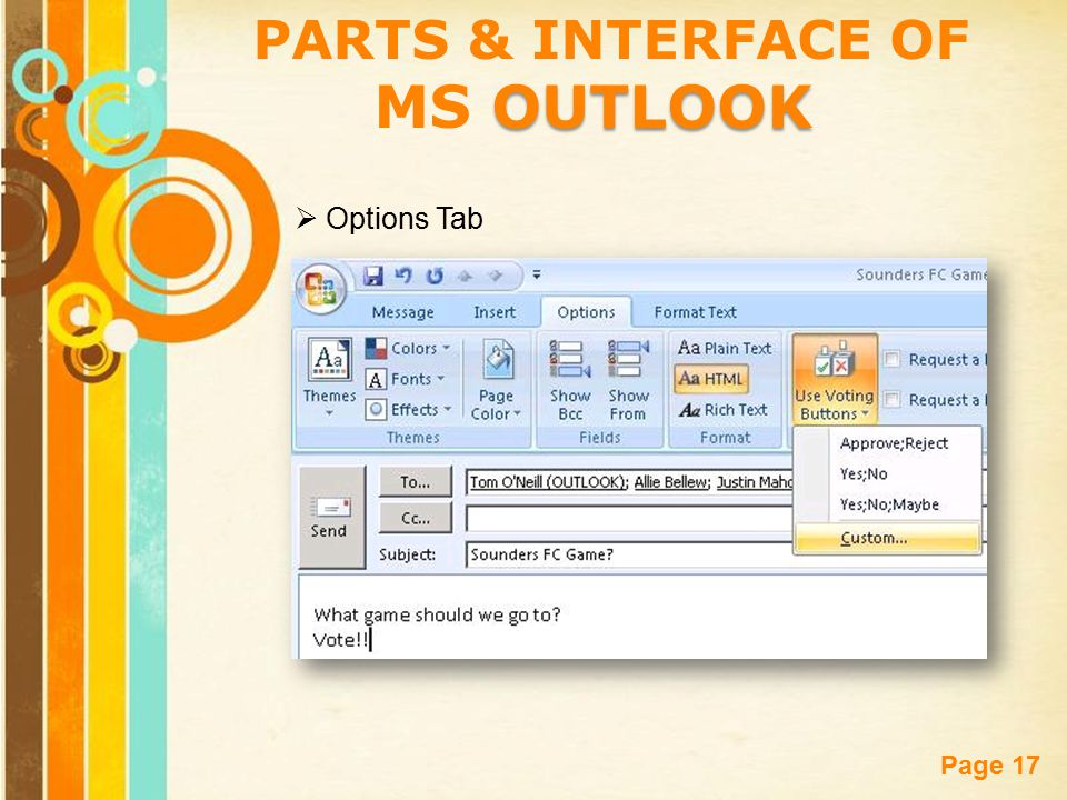 Free Powerpoint Templates Page 17 PARTS & INTERFACE OF OUTLOOK MS OUTLOOK  Options Tab