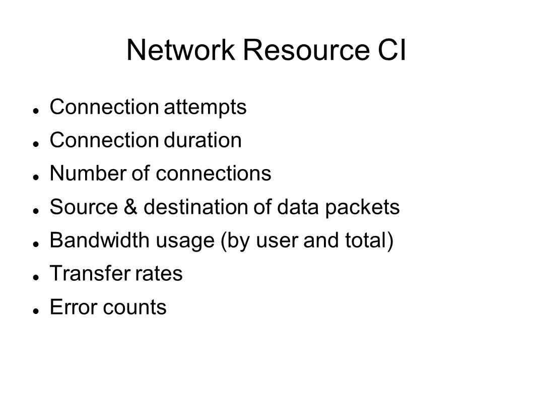 Network Resource CI Connection attempts Connection duration Number of connections Source & destination of data packets Bandwidth usage (by user and total) Transfer rates Error counts