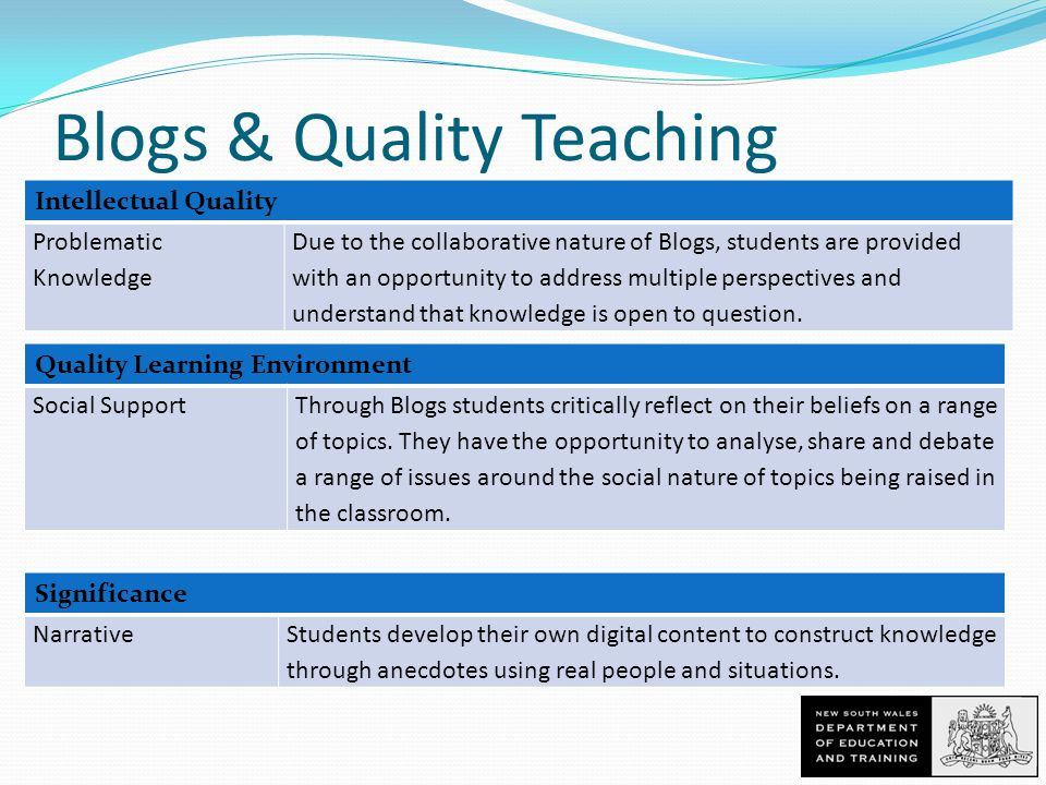 Blogs & Quality Teaching Intellectual Quality Problematic Knowledge Due to the collaborative nature of Blogs, students are provided with an opportunity to address multiple perspectives and understand that knowledge is open to question.