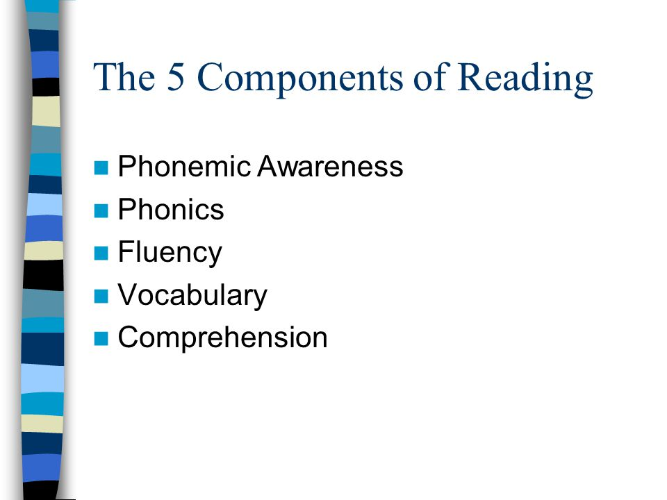The 5 Components of Reading Phonemic Awareness Phonics Fluency Vocabulary Comprehension