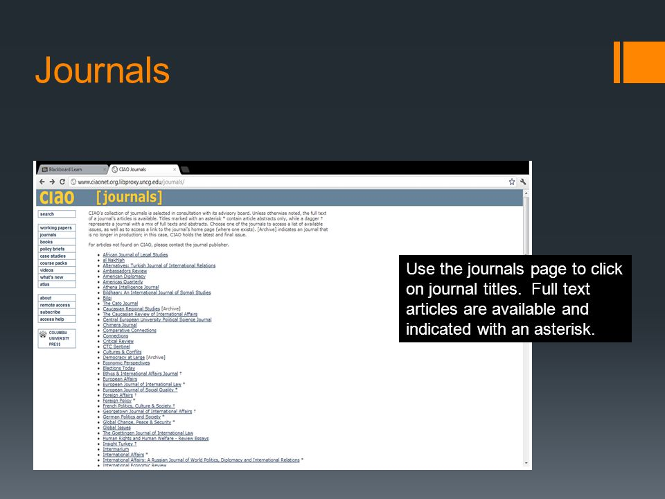 Journals Use the journals page to click on journal titles.