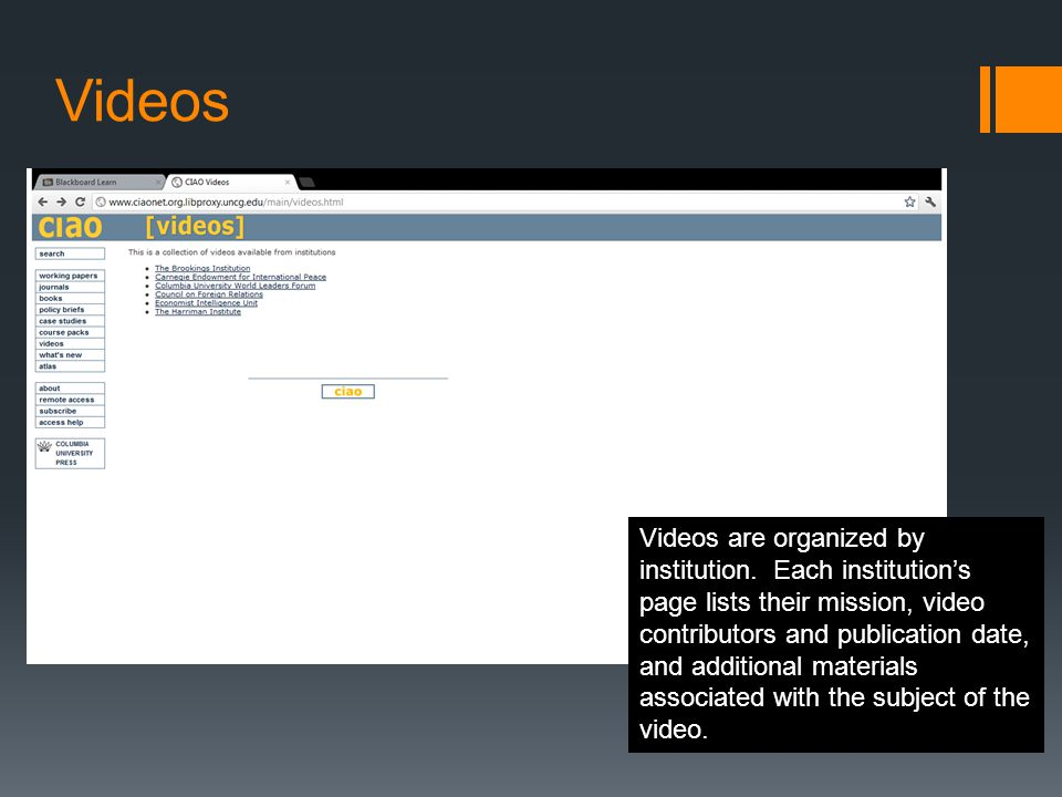 Videos Videos are organized by institution.