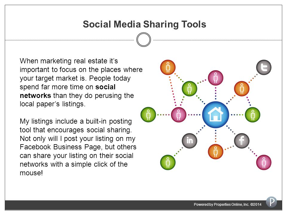 Social Media Sharing Tools When marketing real estate it's important to focus on the places where your target market is.