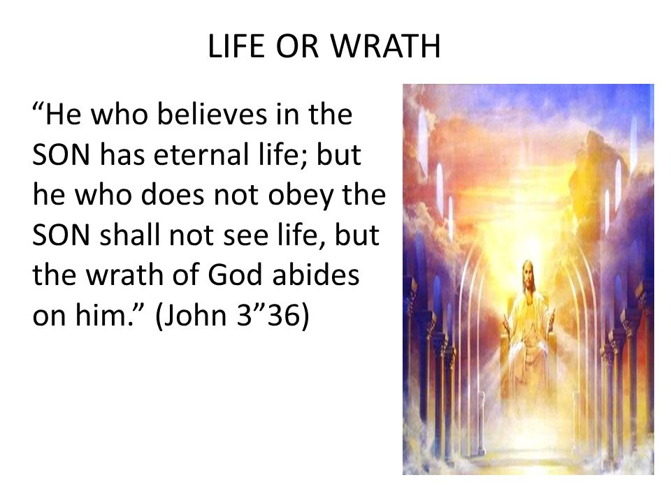 LIFE OR WRATH He who believes in the SON has eternal life; but he who does not obey the SON shall not see life, but the wrath of God abides on him. (John 3 36)