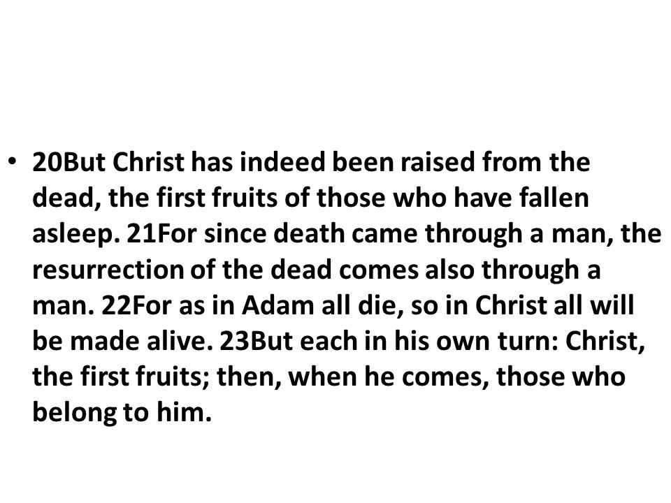 20But Christ has indeed been raised from the dead, the first fruits of those who have fallen asleep.