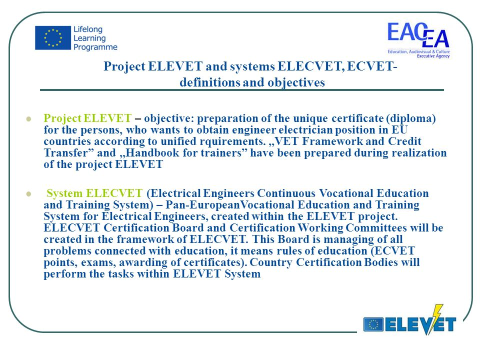 Electrical engineers vocational education transparency - ELEVET ...