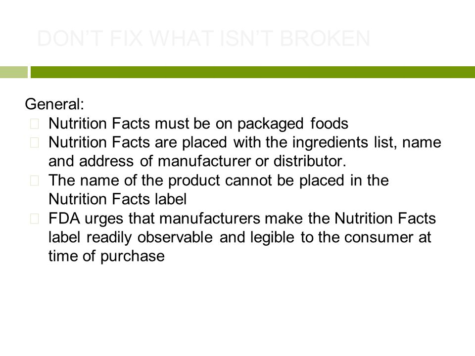 Caitlyn Parry - Christina Sanabria- Kerry Boyd NUTRITION LABELING