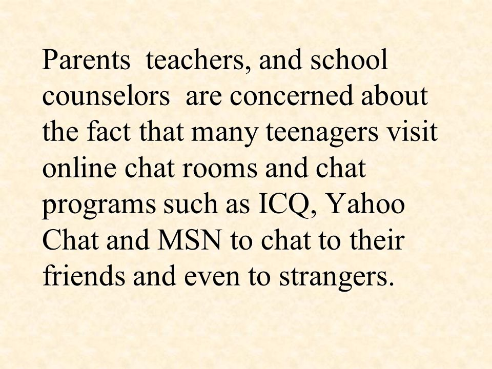 Online chat rooms teenagers