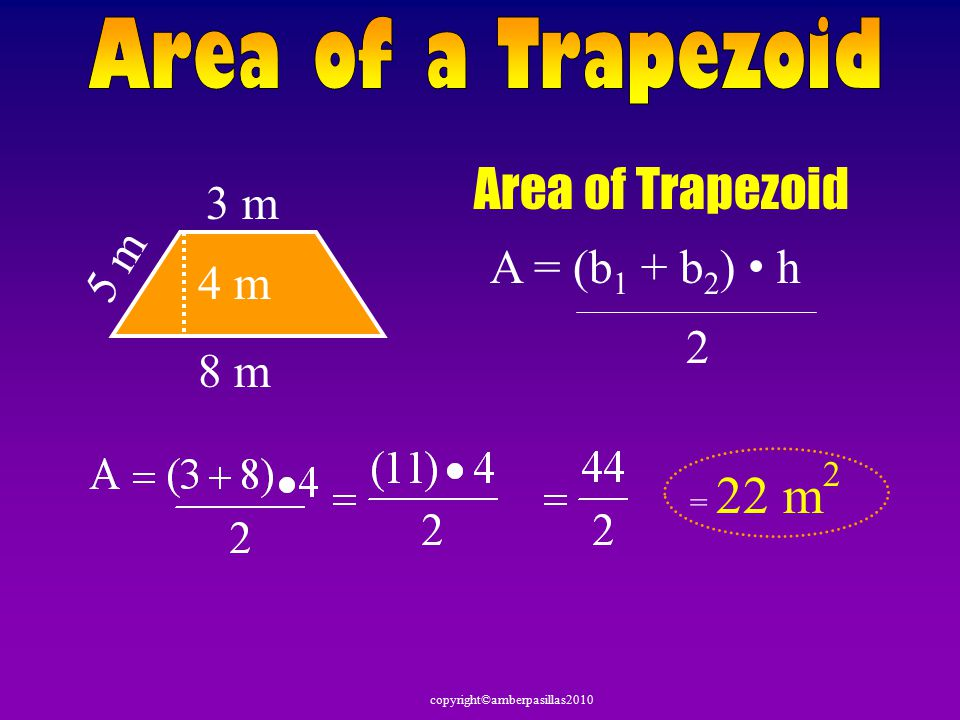 copyright©amberpasillas2010 Area of Trapezoid 2 in 6 in 3 in = 12 in 2 2 A = (b 1 + b 2 ) h 4 in