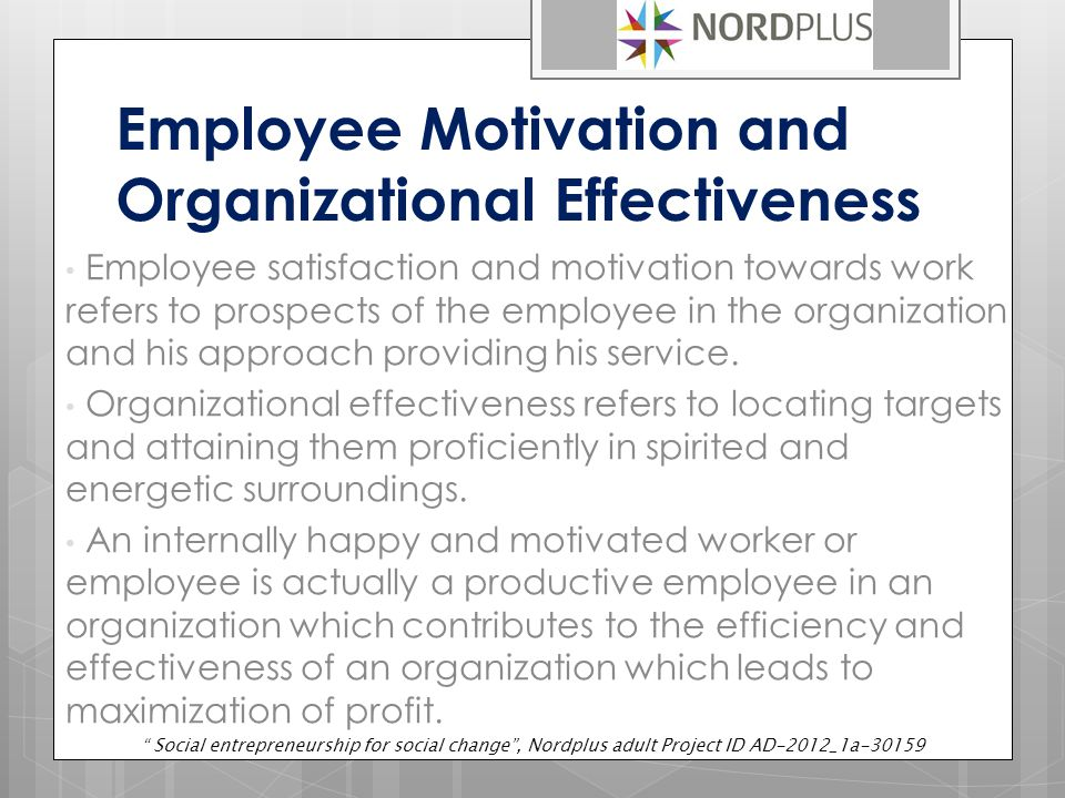 Employee Motivation and Organizational Effectiveness Employee satisfaction and motivation towards work refers to prospects of the employee in the organization and his approach providing his service.