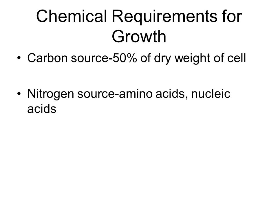 Chemical Requirements for Growth Carbon source-50% of dry weight of cell Nitrogen source-amino acids, nucleic acids