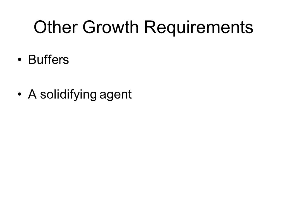 Other Growth Requirements Buffers A solidifying agent