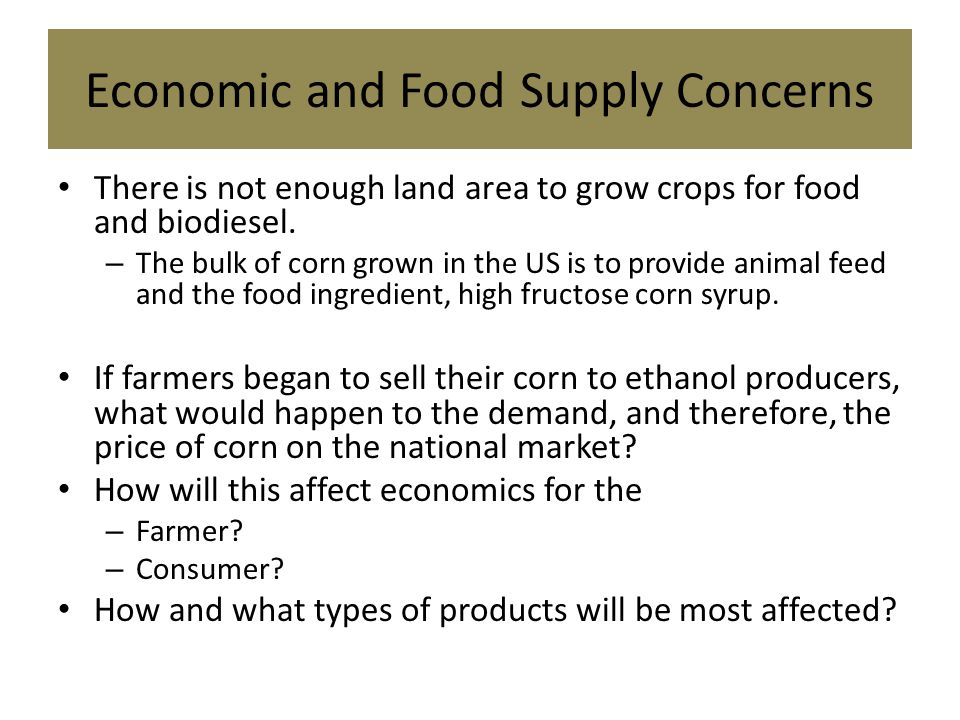 Economic and Food Supply Concerns There is not enough land area to grow crops for food and biodiesel.