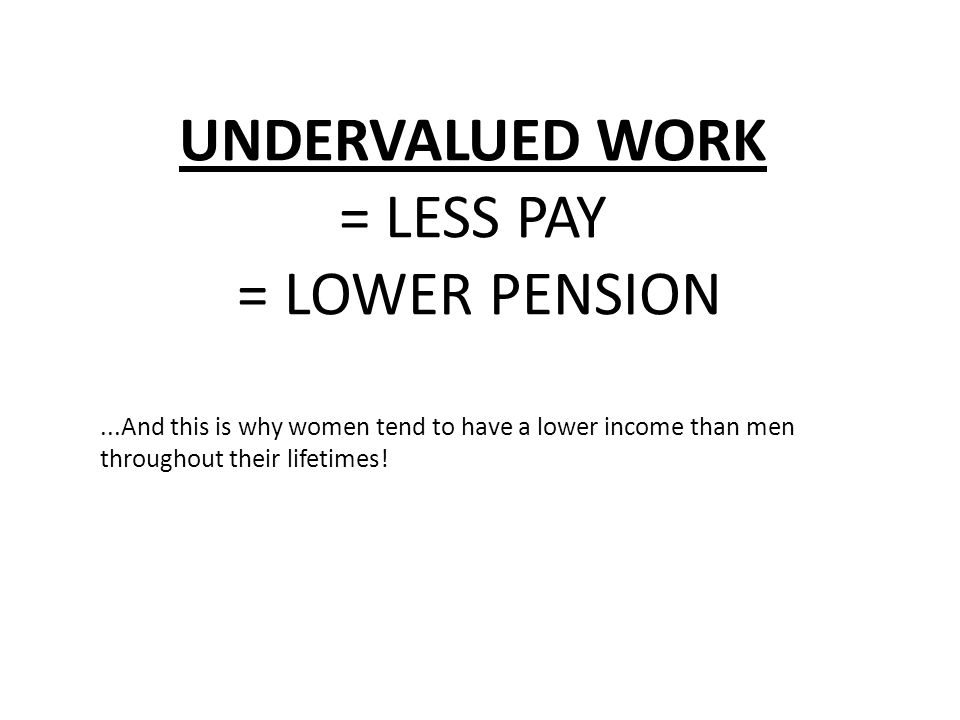 UNDERVALUED WORK = LESS PAY = LOWER PENSION...And this is why women tend to have a lower income than men throughout their lifetimes!
