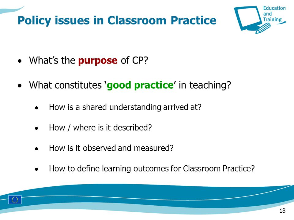 18  What's the purpose of CP.  What constitutes 'good practice' in teaching.
