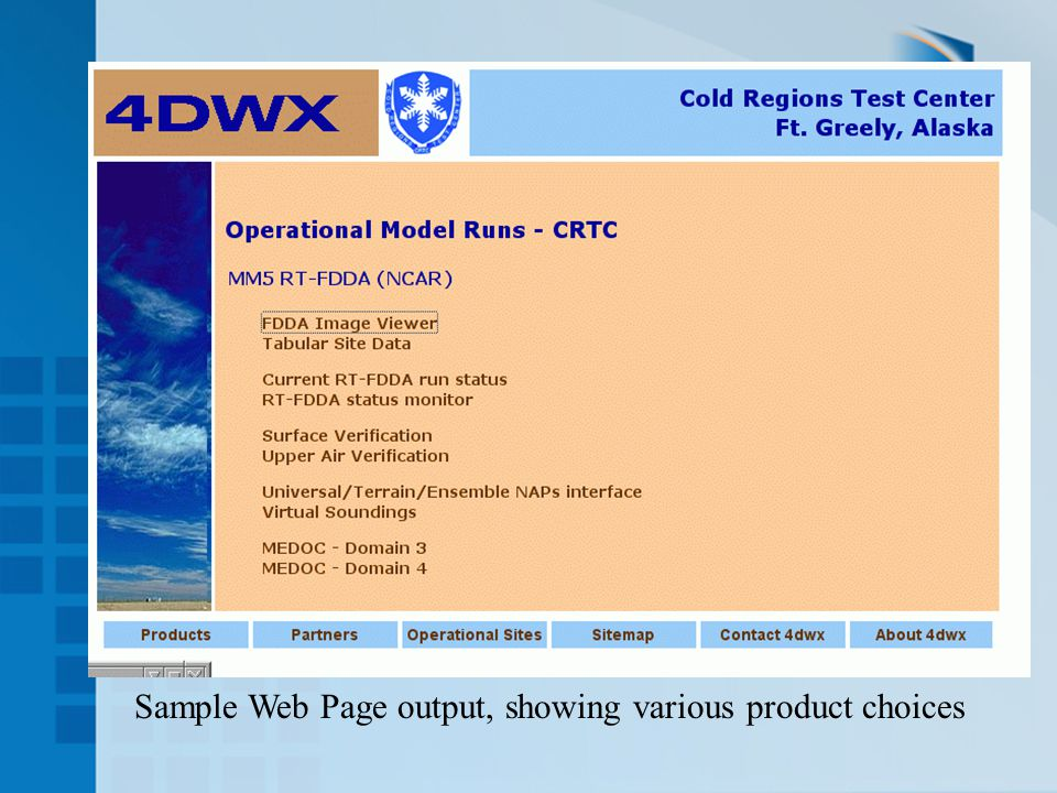 Sample Web Page output, showing various product choices