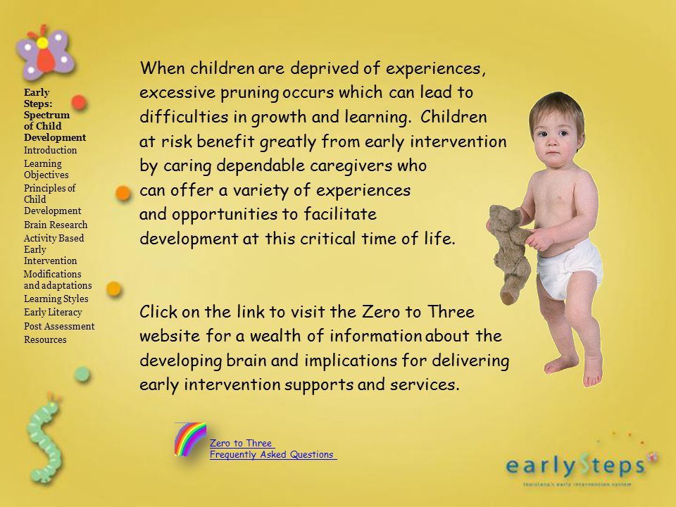 The Link Between Learning And Child >> Early Steps Spectrum Of Child Development Introduction Learning