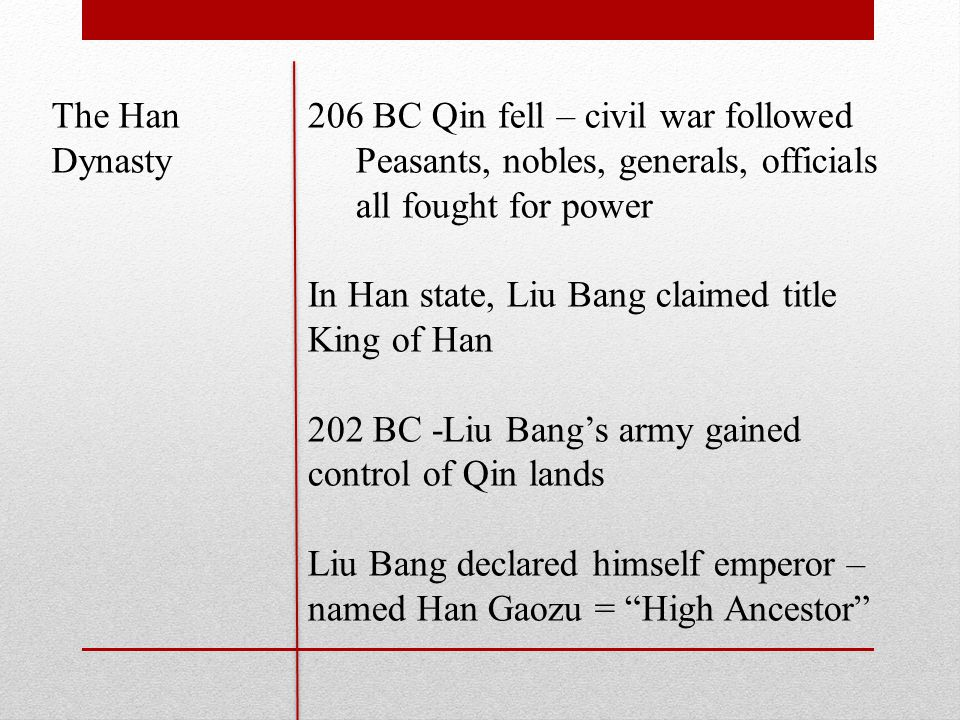 The Han Dynasty 206 BC Qin fell – civil war followed Peasants, nobles, generals, officials all fought for power In Han state, Liu Bang claimed title King of Han 202 BC -Liu Bang's army gained control of Qin lands Liu Bang declared himself emperor – named Han Gaozu = High Ancestor