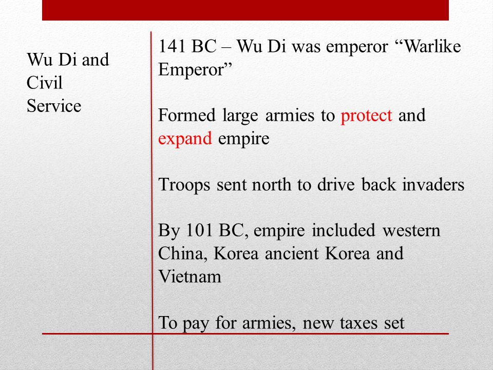 Wu Di and Civil Service 141 BC – Wu Di was emperor Warlike Emperor Formed large armies to protect and expand empire Troops sent north to drive back invaders By 101 BC, empire included western China, Korea ancient Korea and Vietnam To pay for armies, new taxes set
