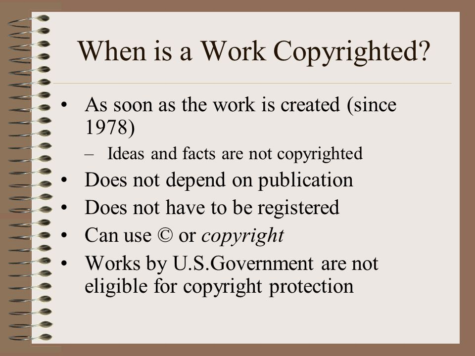When is a Work Copyrighted.
