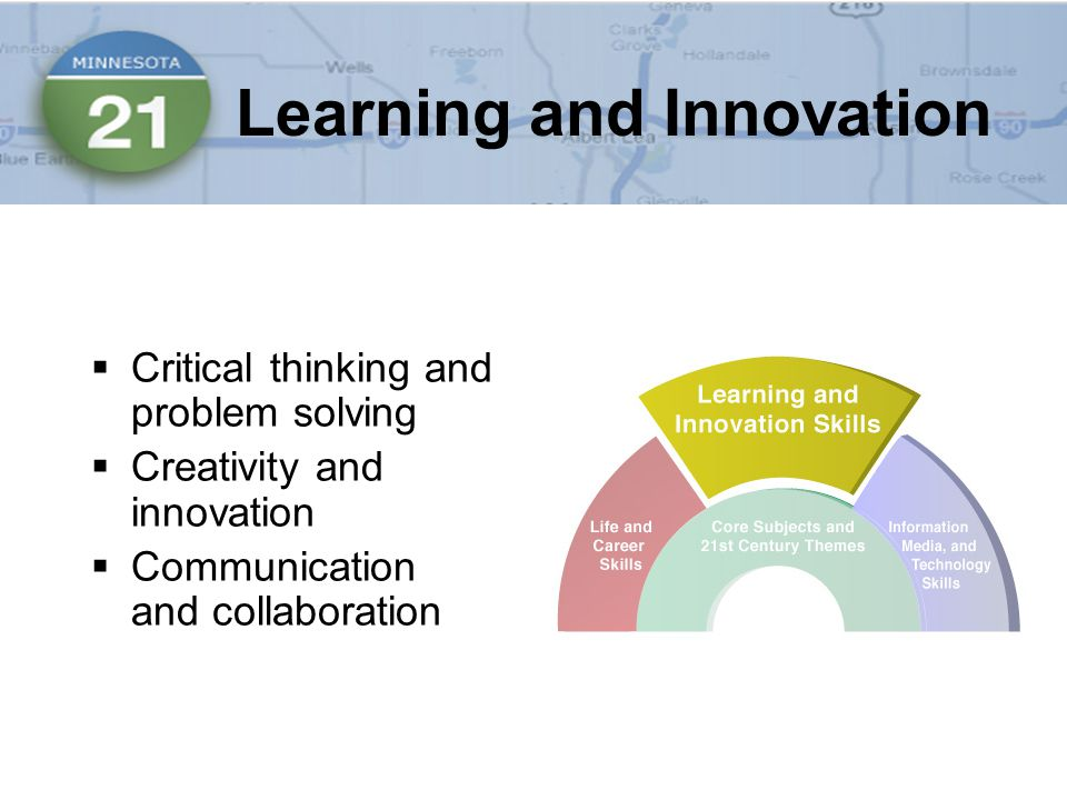  Critical thinking and problem solving  Creativity and innovation  Communication and collaboration Learning and Innovation