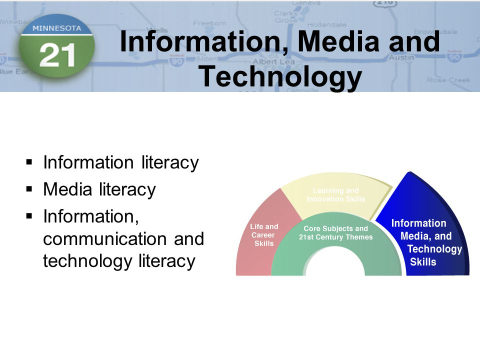 Information, Media and Technology  Information literacy  Media literacy  Information, communication and technology literacy