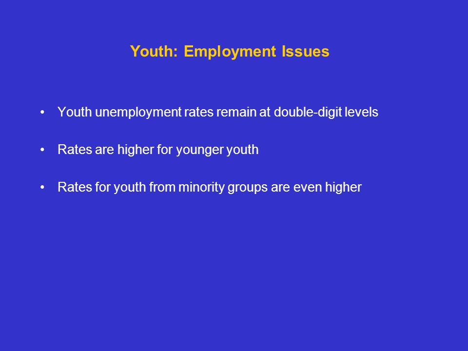 Youth unemployment rates remain at double-digit levels Rates are higher for younger youth Rates for youth from minority groups are even higher Youth: Employment Issues