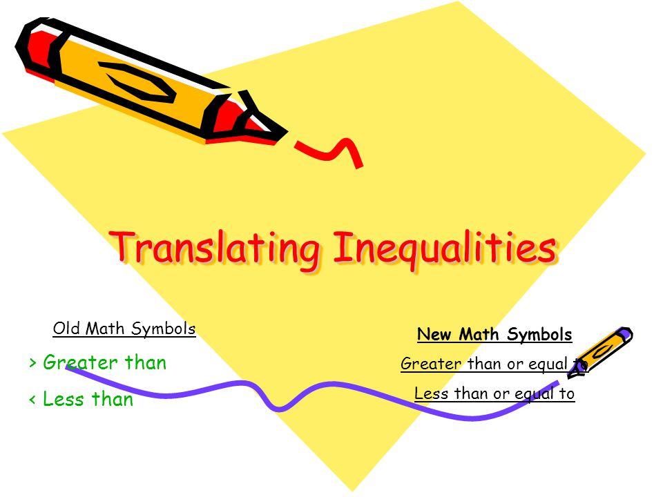 Translating Inequalities Old Math Symbols Greater Than Less Than