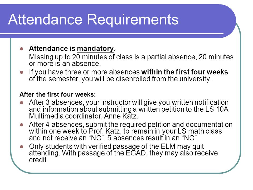 Attendance Requirements Attendance is mandatory.