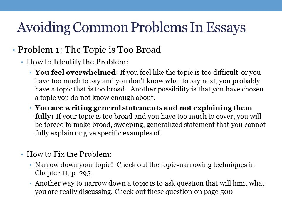 Compare And Contrast Essay High School And College Avoiding Common Problems In Essays Problem  The Topic Is Too Broad How To  Identify Essays On Science And Religion also Proposal Essay Topic Revising Essay  Go Over Final Week Schedule Discuss Extra Credit  Essay On Science And Religion