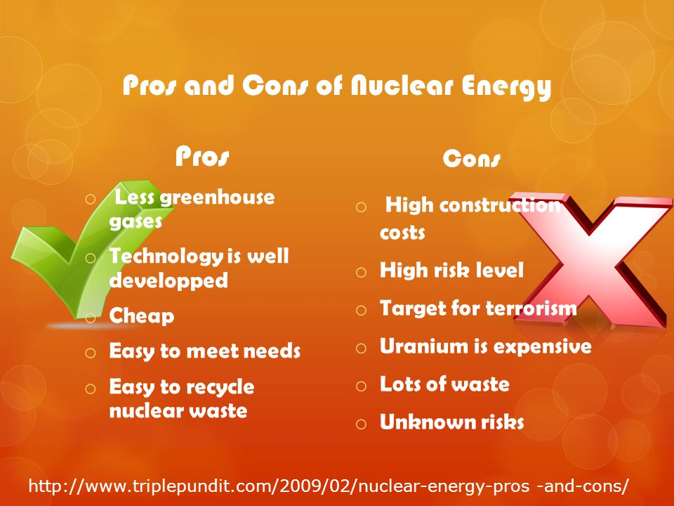 pros and cons of using nuclear energy Nuclear plants create more jobs than other forms of energy they create 05 jobs for every megawatt hour of electricity produced this is in comparison to 019 jobs in coal, 005 jobs in gas-fired plants and 005 in wind power.