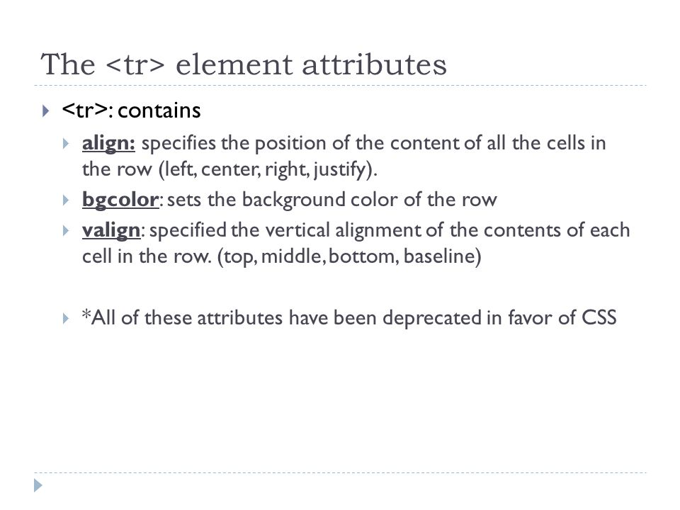 The element attributes  : contains  align: specifies the position of the content of all the cells in the row (left, center, right, justify).