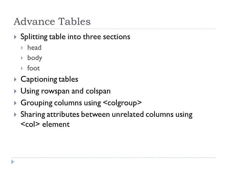  Splitting table into three sections  head  body  foot  Captioning tables  Using rowspan and colspan  Grouping columns using  Sharing attributes between unrelated columns using element