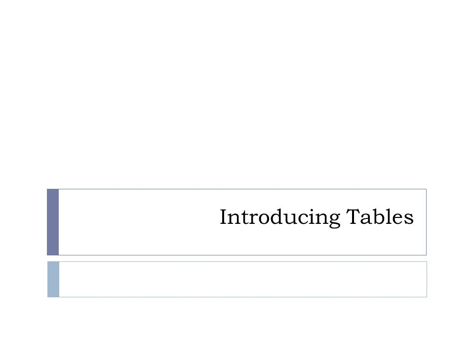 Introducing Tables