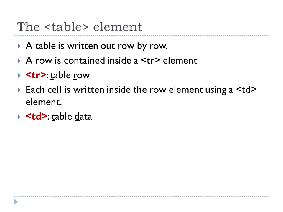 The element  A table is written out row by row.