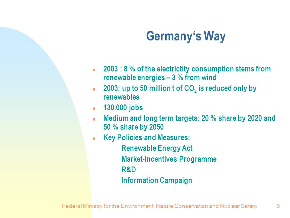 Federal Ministry for the Environment, Nature Conservation and Nuclear Safety9 Germany's Way n 2003 : 8 % of the electrictity consumption stems from renewable energies – 3 % from wind n 2003: up to 50 million t of CO 2 is reduced only by renewables n jobs n Medium and long term targets: 20 % share by 2020 and 50 % share by 2050 n Key Policies and Measures: Renewable Energy Act Market-Incentives Programme R&D Information Campaign