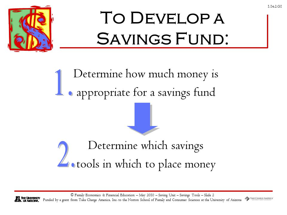 G1 © Family Economics & Financial Education – May 2010 – Saving Unit – Savings Tools – Slide 2 Funded by a grant from Take Charge America, Inc.