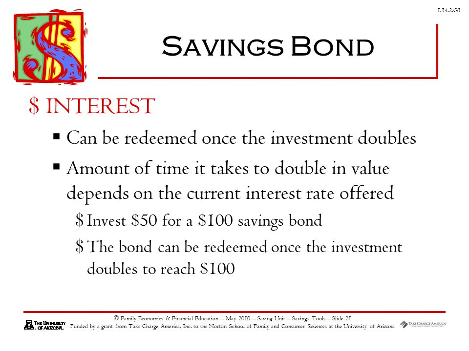 G1 © Family Economics & Financial Education – May 2010 – Saving Unit – Savings Tools – Slide 21 Funded by a grant from Take Charge America, Inc.