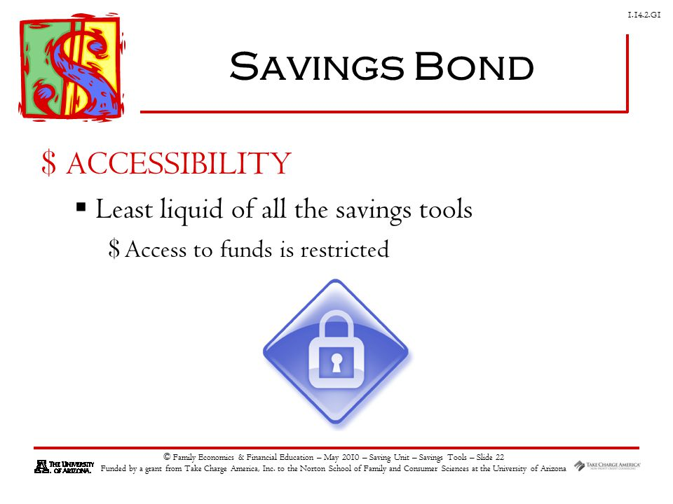 G1 © Family Economics & Financial Education – May 2010 – Saving Unit – Savings Tools – Slide 22 Funded by a grant from Take Charge America, Inc.