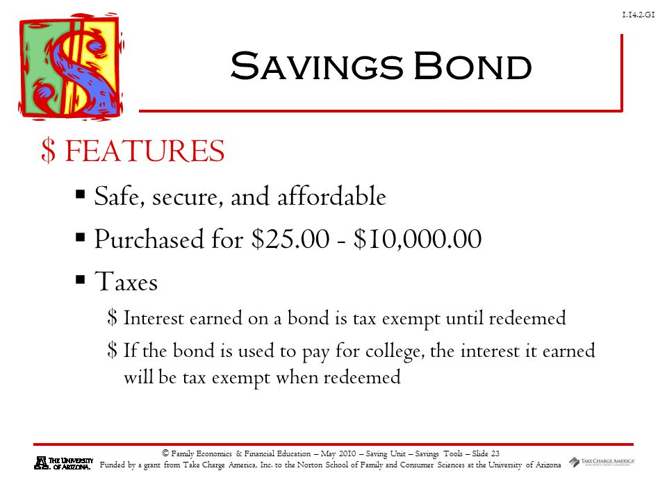 G1 © Family Economics & Financial Education – May 2010 – Saving Unit – Savings Tools – Slide 23 Funded by a grant from Take Charge America, Inc.