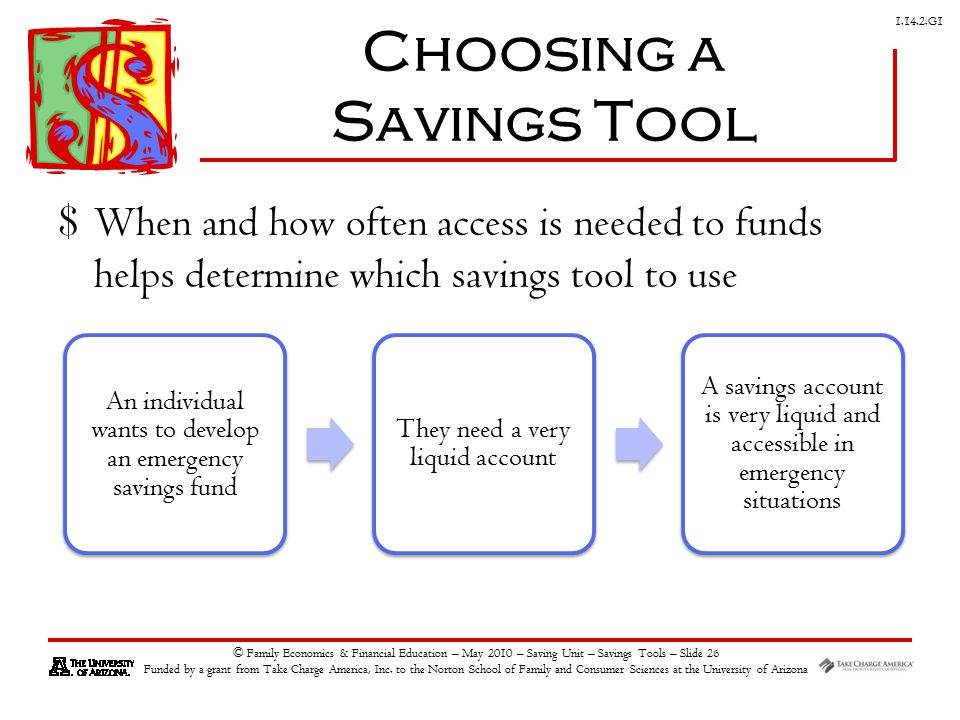 G1 © Family Economics & Financial Education – May 2010 – Saving Unit – Savings Tools – Slide 26 Funded by a grant from Take Charge America, Inc.