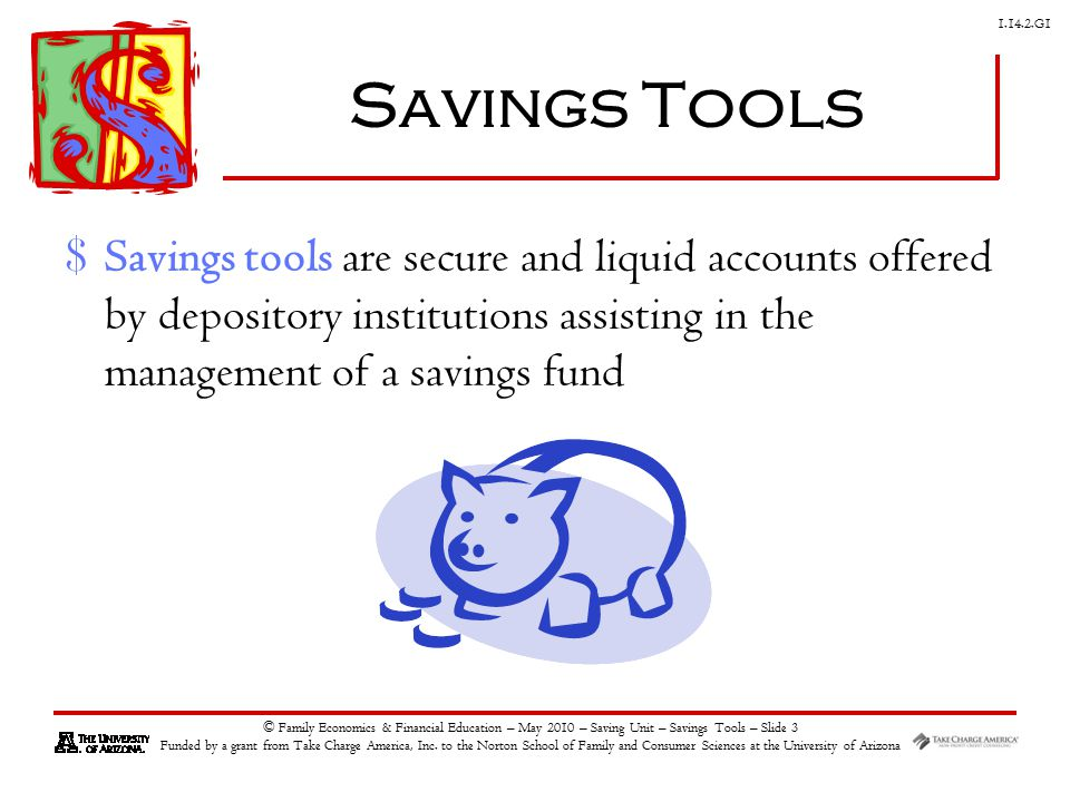 G1 © Family Economics & Financial Education – May 2010 – Saving Unit – Savings Tools – Slide 3 Funded by a grant from Take Charge America, Inc.
