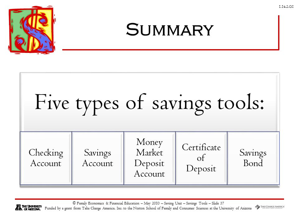 G1 © Family Economics & Financial Education – May 2010 – Saving Unit – Savings Tools – Slide 37 Funded by a grant from Take Charge America, Inc.