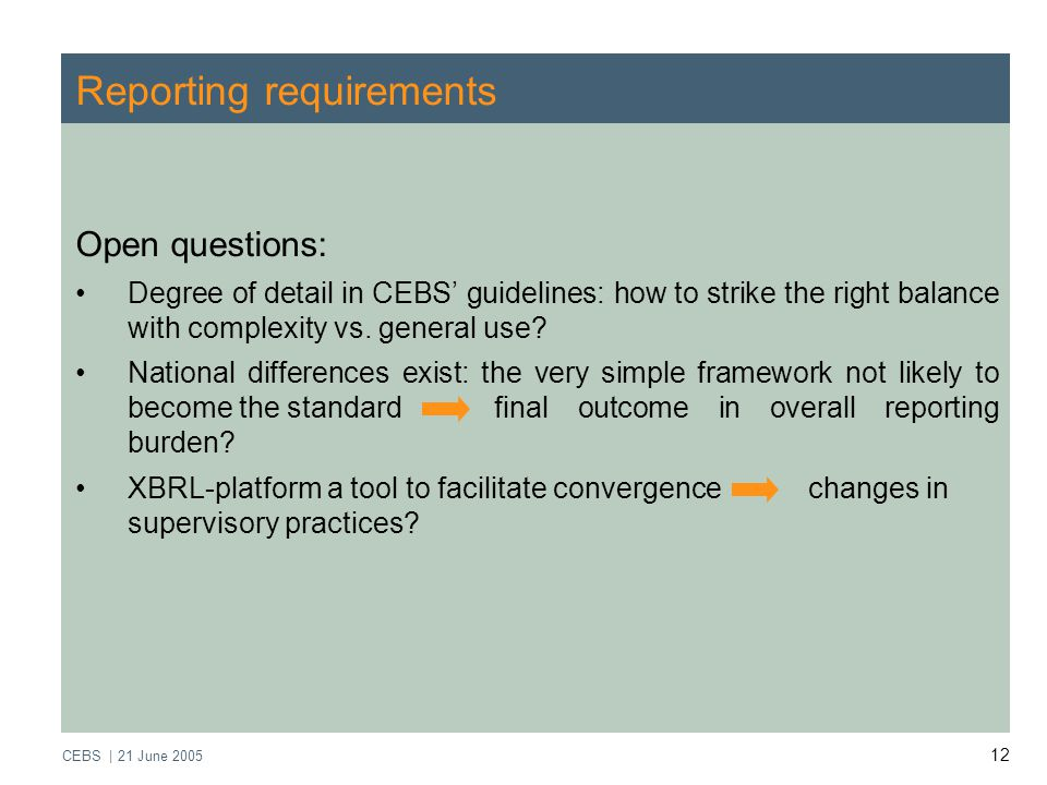 CEBS | 21 June Reporting requirements Open questions: Degree of detail in CEBS' guidelines: how to strike the right balance with complexity vs.