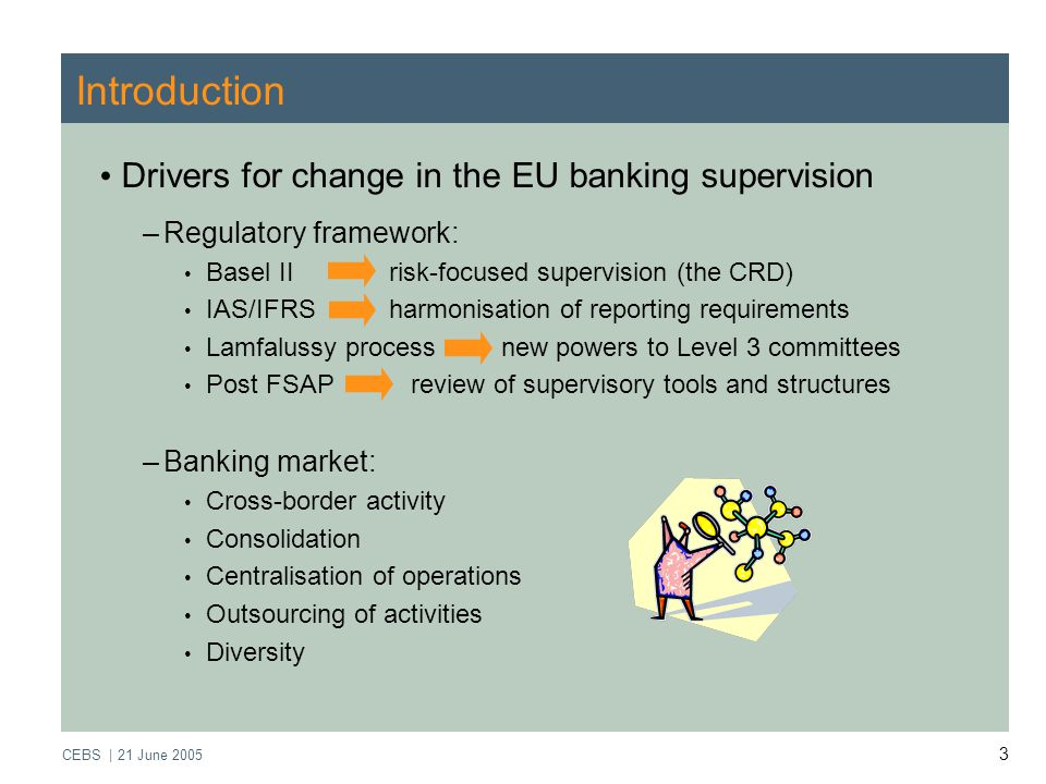 CEBS | 21 June Introduction Drivers for change in the EU banking supervision –Regulatory framework: Basel II risk-focused supervision (the CRD) IAS/IFRS harmonisation of reporting requirements Lamfalussy process new powers to Level 3 committees Post FSAP review of supervisory tools and structures –Banking market: Cross-border activity Consolidation Centralisation of operations Outsourcing of activities Diversity